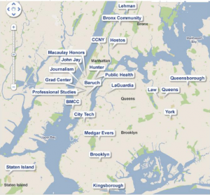 Image shows a map of New York metropolitan area with each of the CUNY campuses marked.
