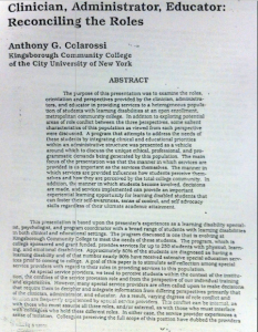 "Image shows first page of Anthony Colarossi's essay ""Clinician, Administrator, Educatior: Reconciling the Roles"" as published in the conference proceedings of the 1988 AHEAD conference"