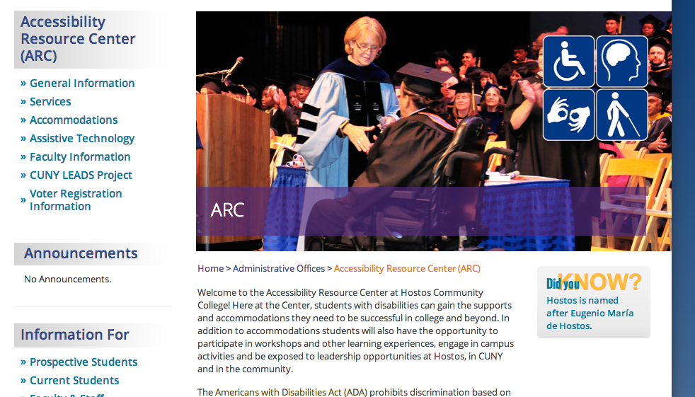 Image shows a screenshot of the webpage for the Accommodation Resource Center at Hostos Community College. Large banner shows a professor in regalia shaking hands with a graduating student using a wheelchair.