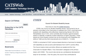 Image shows a screenshot from the CATSWEB page, explaining the organizational structure and objectives of COSDI. Page banner shows the skyline of New York.